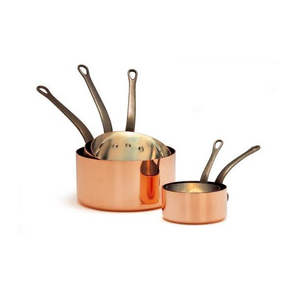 Verzinnte Kupferkasserolle Ø 12 cm Dünnwandig - Glatt