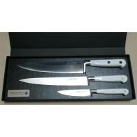 "Au Nain geschmiedete Messer ""Ideal"" Weiß Chefmesser 20cm Fleischmesser 20cm Spickmesser 10cm"